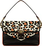 Just Cavalli Leather Bovine Leopard Print Clutch Bag