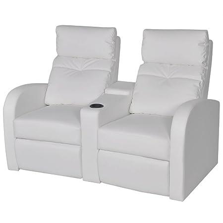 Canapé 2 sièges intégrés inclinable similicuir blanc