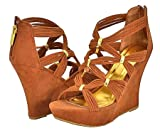 Bamboo Ceasar-97 Chestnut Faux Suede Women Wedge Sandals
