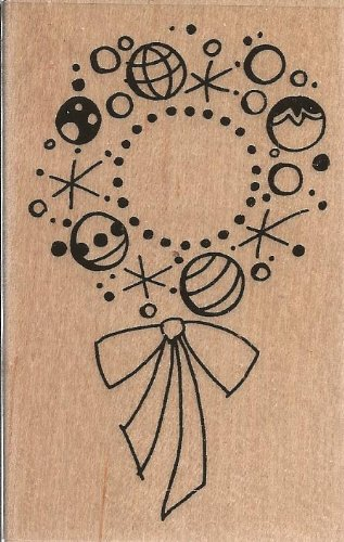 Bauble Wreath Wood Mounted Rubber Stamp (M166)