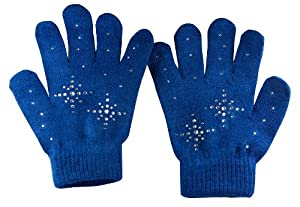 Fashion Every Day Girls Ice Skating Gloves / Magic Stretch Gloves with Clear Rhinestones Snow Flakes (Navy Blue)