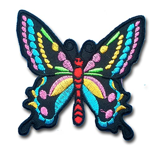 Multi Fancy Color Butterfly For Lady Harley Rider Biker Punk Heavy Metal Hard Rock Tatto Embroidered Iron On Badge Emblem Letter Morale Patch