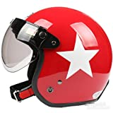 Red White Star Open Face Motorcycle Helmet Retro Vintage Evo Helmet
