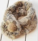 Real Rabbit Fur Scarf Scarves Shawls Wrap Collar Neck Skiing Warmer (grass)