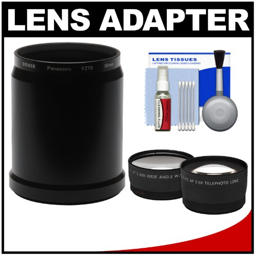 Panasonic Lumix Dmc-Fz70 Digital Camera Essentials Bundle With Adapter Tube With 2.5X Tele & .45X Wide Angle Lens Set + Cleaning Kit