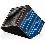 EasyAcc® Energie Cube Bluetooth Lautsprecher mit blauer LED, Mini Wireless boxen mit Mikrofon, Schwarz