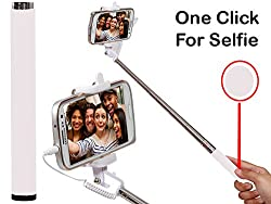 Selfie Stick Monopod With Wired Aux Cable Connectivity Compatible For Samsung Galaxy S Duos 3-WHITE