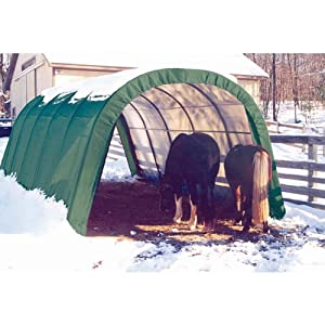 ShelterLogic 12 x 20 x 10- Feet Round Style Run-In Shelter, Green Cover by ShelterLogic