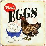 Fresh Eggs Hen Chicken Distressed Retro Vintage Tin Sign