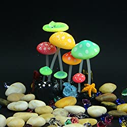 Glowing Coral Glowing Aquarium Decoration with 9 Mushroom Heads. Suction Cup Included
