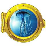 Freeswimming Jellyfish Porthole Wall Decal