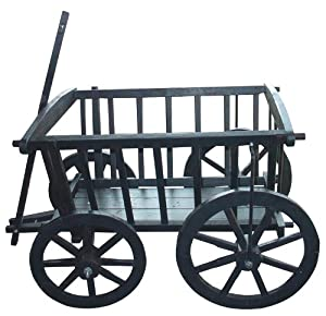 Garden Decoration Wagon01BK Wagon, 10.5-Inch, Black