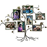 """Adeco 7-Opening Decorative Bronze Iron Tree Wall Hanging Collage Photo Frame, 5 by 7"""""""