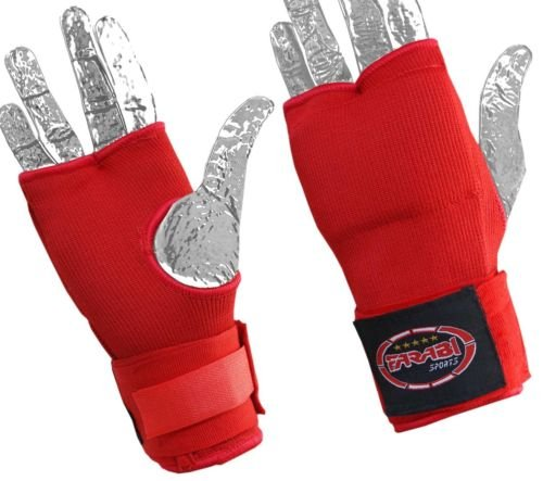 Inner Gloves Boxing Fist Padded Hand Wrap MMA Fist Pad By Farabi (RED, S/M)