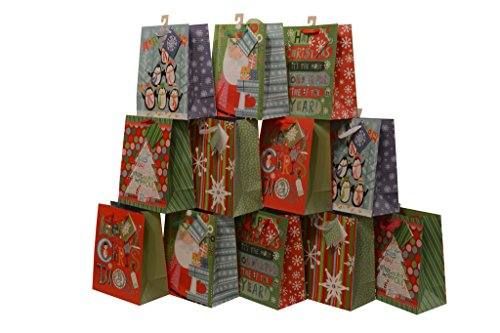 Assorted Christmas Gift Bags, glitter accents, large, pack of 12 bags