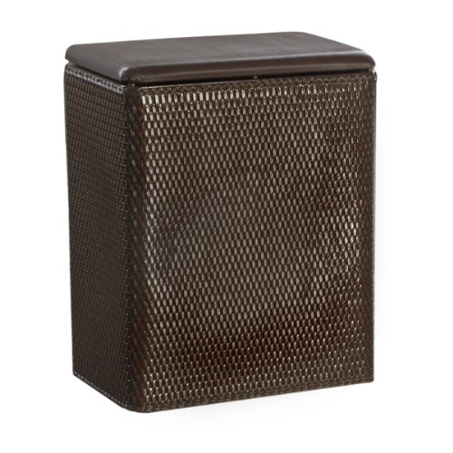 Lamont Home Carter Upright Wicker Laundry Hamper With Coordinating Padded Vinyl Lid, Chocolate front-423361