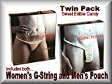 Edible Combo Pack - Women's Candy G-String and Men's Sweet Pouch - Sexy Novelty Panties for Him n Her One Size