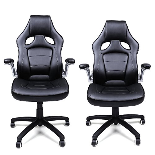 songmics racing stuhl ergonomischer b rostuhl mit klappbaren armlehnen und hoher r ckenlehne. Black Bedroom Furniture Sets. Home Design Ideas