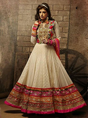 UFS Women's Cream Pink Georgette Semi Stitched Anarkali Dress Salwar Suit