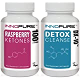 Pure Raspberry Ketones & Detox Colon Cleanse DX-10 Weight Loss Diet Pills Duo Saver Pack | 1 Month Supply | 60 Day Money Back Guarantee