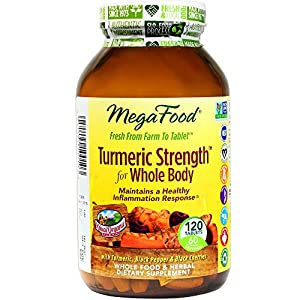 MegaFood Turmeric Strength For Whole Body Tablets, 120 Count (Premium Packaging)
