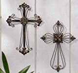 Pack of 6 Religious Open Design Metal Wall Crosses with Medallions 12""
