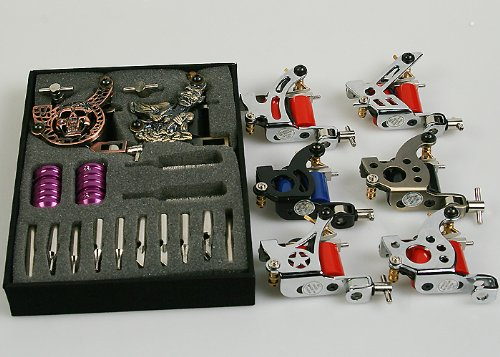 Complete 8 Gun Tattoo Kit Tattoo Machine Kit Tattoo Ink LCD Power Supply,