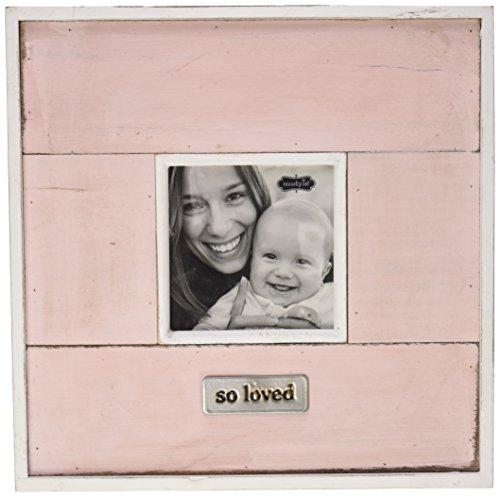 buy Mud Pie Planked Wood Distressed Frame Baby Nursery Décor, Pink, 3.5