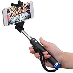 Bluetooth Selfie Stick, Mpow iSnap X One-piece Folding Self-portrait Ultra Compact Extendable Monopod Phone Holder with Built-in Bluetooth Remote Wireless Shutter for iPhone 6s, 6s Plus,5 5c 5s SE, Samsung Galaxy S7 Note 3 and Other Android Cell Phones,Blue