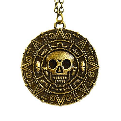 Bronze - Pirati dei Caraibi Aztec Coin cranio Medallion fascino Fancy Dress collana