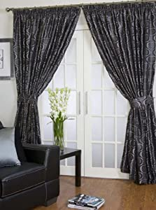 Less Than Half Price Halo Lined Ready Made Curtains 90 X 90 229cm X 229cm In Black Grey