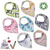 Premium Baby Bandana Drool Bibs With 3 Snaps By Ana Baby 7-Pack 100% Organic Cotton For Girls, Free Pacifier Clip...