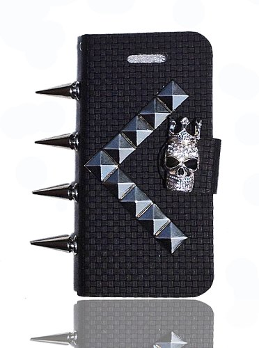 Best Price HOT Crazy SPIKES & BLING 3D Skull Studded Punk Iphone 5 Flip Pouch case/cover w/Credit Card Slots & magnetic closure by Jersey Bling