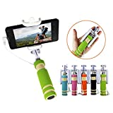 #1: ARISIDH Premium Quality Selfie Stick Mini With AUX cable and Rubber Grip for Android, Apple and Windows Mobile Phones Available in Multicolors.