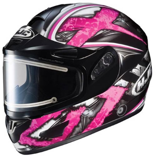 Hjc Cl-16 Shock Pink Snow Helmet With Dual Lens Electric Shield