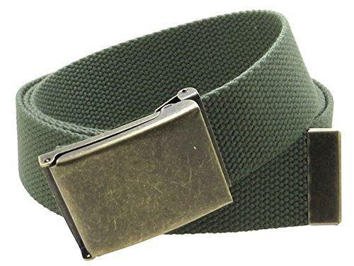 """Canvas Web Belt Flip-Top Antique Brass Buckle/Tip Solid Color 50"""" Long 1.5"""" Wide (Olive)"""