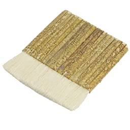uxcell® Bamboo Handle Faux Wool Painting Brush 4.5 Inch Wide Khaki White