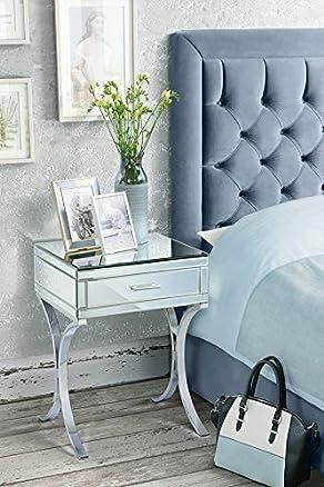 MY-Furniture - AURELIA - Comodino a specchio cromato in stile Barcellona