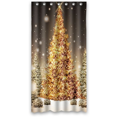 """Anhome Print Golden Merry Christmas Tree In Big Snow Confirm Beautiful Scenery Shower Curtain 36""""X 72"""""""