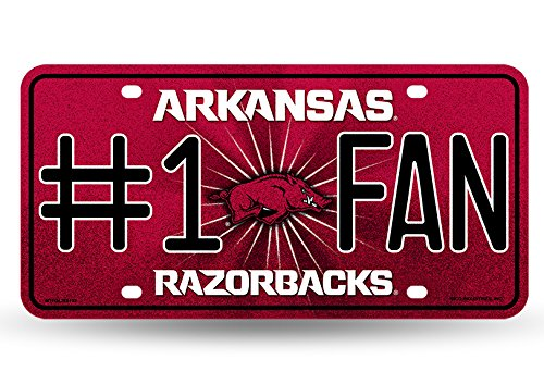 NCAA Arkansas Razorbacks Bling #1 Fan Metal Auto Tag Plate, 12 x 6-Inch, Silver (Razorback Truck Accessories compare prices)