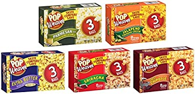 5 Pack! Pop Weaver Flavored Microwave Popcorn Variety Pack Bundle: Sriracha; Carmel Corn; Extra Butter; Jalapeno Cheddar; Parmesan Italian Herbs + Sanitizing Hand Wipes. Care Package, Food Gift