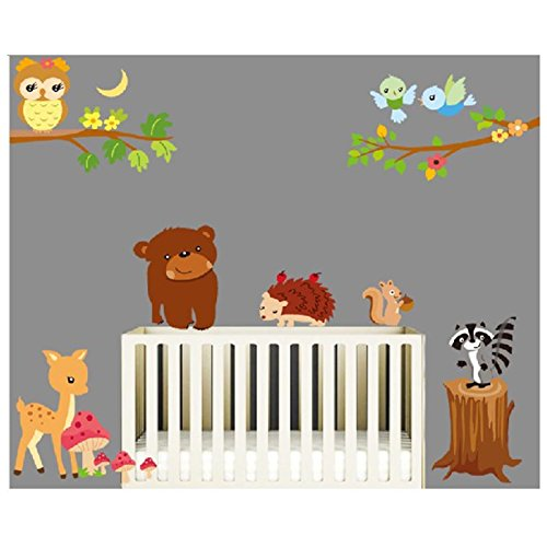 Cartoon Animal World Wall Decals, Cute Bear Hedgehog Deer Squirrel and Owls, Children's Room Nursery Removable Wall Stickers Murals