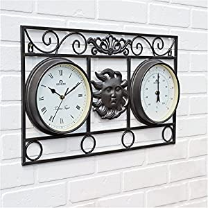 Practical And Decorative Wall Frame Sun Clock And Thermometer - Eye Catching Design - Fully Weatherproof - Ideal For Planning Your Day In The Garden by Greenhurst