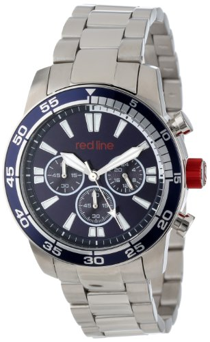 Red Line Men's Cruiser 45mm Chronograph Steel Bracelet & Case Quartz Blue Dial Watch 60007
