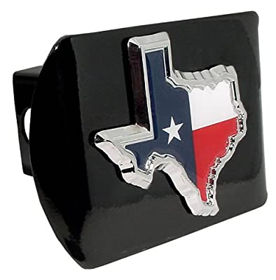 "Lonestar State of Texas ""Black with Chrome ""Red White and Blue Lonestar Flag"" State Shape Emblem"" Steel Trailer Hitch Cover Fits 2 Inch Auto Car Truck Receiver"