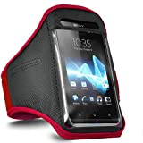 ONX3 Sony Xperia J ST26i Red Adjustable Strap Jogging Walking Sports Armband