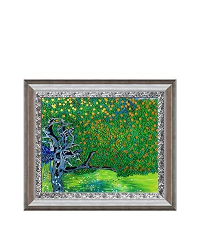 Gustav Klimt's Golden Apple Tree Metallic Embellished Framed Hand Painted Oil Canvas, Multi, 27.5″ x 31.5″