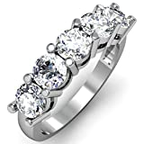IGI CERTIFIED 0.95 Carat (ctw) 14K White Gold Round White Diamond 5 Stone Bridal Wedding Band 1 CT