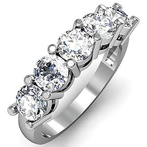 IGI CERTIFIED 0.95 Carat (ctw) 14K White Gold Round White Diamond 5 Stone Bridal Wedding Band 1 CT