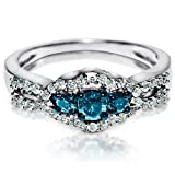 Blue Diamond Engagement Ring White Accents in White Gold 0.55ct W 7mm Wide New